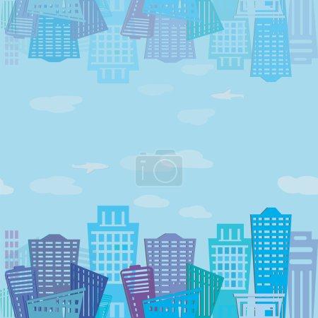 Illustration for Seamless texture. Modern real estate buildings design. Urban landscape. Vector  pattern - Royalty Free Image