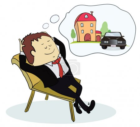 Illustration for Man dreaming house and car. Concept for credit or mortgage. Vector illustration - Royalty Free Image