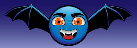 Illustration for Yellow emoticon turned into a blue vampire Dracula - Royalty Free Image