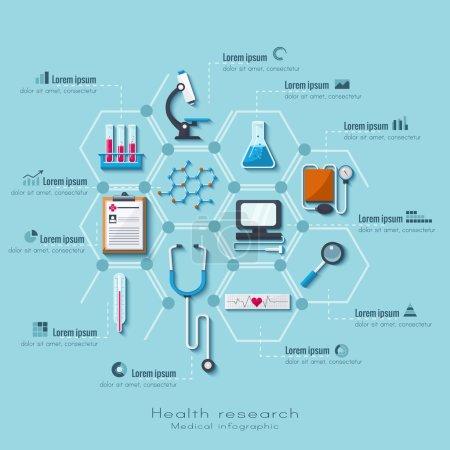 Illustration pour Ensemble d'infographie de soins de santé et de recherche médicale. Style plat . - image libre de droit