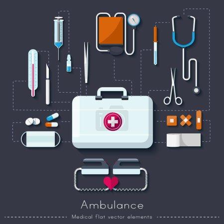 Illustration pour Soins de santé et concept médical. Ambulance à plat. Illustration vectorielle - image libre de droit