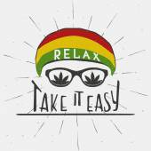 RELAX. TAKE IT EASY. Reggae music concept. Hand drawn typography poster. Vintage vector illustration.