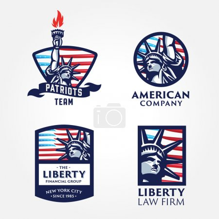 Set of Solid And Bold Liberty Statue