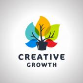 Creative Growth Original Memorable Graphic Symbol For Your Business Growing Plant With Colorful Leaves Attractive Unique Sign For Studio Team Service Agency etc Vector Illustration