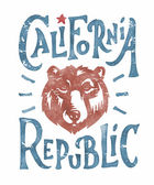 Hand lettered California Republic apparel t shirt fashion design Grizzly Bear Head graphic typographic art ink drawing vector illustration Golden state west coast travel souvenir Wall Decor