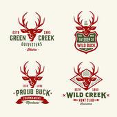 Set of wild hunting deer head badges