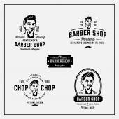 Set of retro vintage barbershop emblems