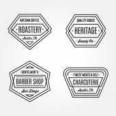 Set of retro monochrome geometric badge logos design templates with vintage feeling for  wide variety of businesses