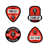 Set of Solid Bold Strong & Clean Badges Symbols For Stand Up Comedy Radio Show Podcast Performer Singer DJ Music Club Broadcast etc Collection of Original Effective Powerful Emblems & Marks