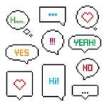Pixel art 8-bit speech bubble set...