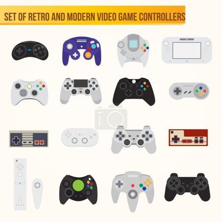 Set von flachen Vektor-Videospiel-Controllern