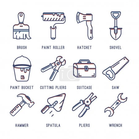 Set of icons with tools.