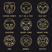 A set of flat icons with animals Bear grizzly avatar person character hero person profileowl tiger wild wild raccoon monkey dog old cat