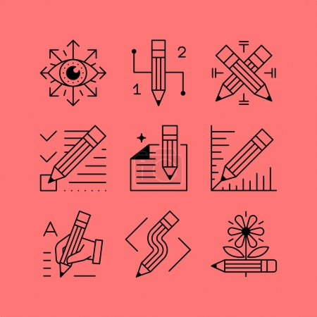 Set of line vectors icons in the flat style. The p...