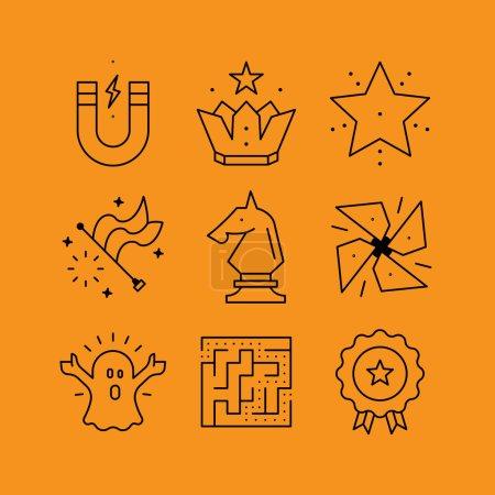 Illustration pour Ensemble d'icônes de vecteurs de ligne dans le style plat. Jeux logiques et puzzles, stratégie de jeux, compétences et réalisations - image libre de droit
