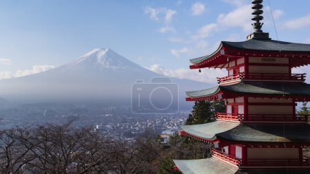 Mount Fuji and Chureito Pagoda, Japan in winter
