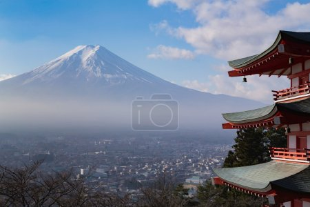 Mt. Fuji aerial viewed from behind red Chureito Pagoda