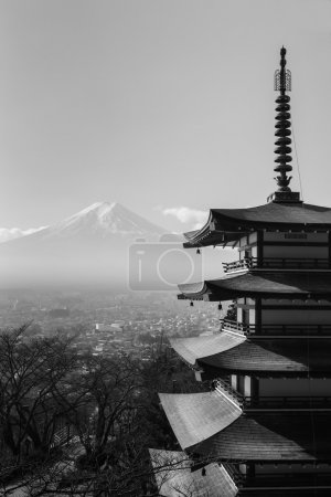 Black and White, Mt. Fuji aerial viewed from behind red Chureito Pagoda