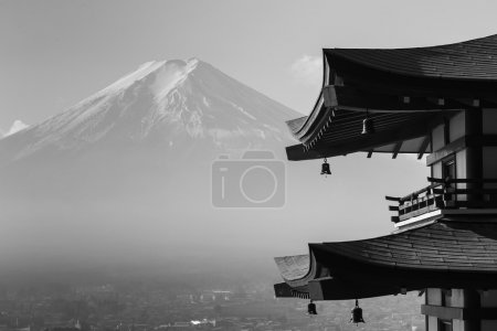Black and White, Mt. Fuji viewed from behind red Chureito Pagoda