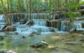 Blue stream waterfall in Kanjanaburi Thailand