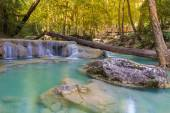 Blue stream waterfall in Kanjanaburi Thailand (National park)