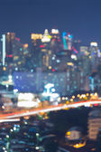 Bokeh of Bangkok city skyline during twilight