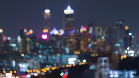 Night view of blurred city lights