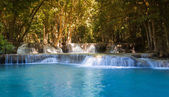 Beauty of blue stream waterfalls in deep forest north of Thailand