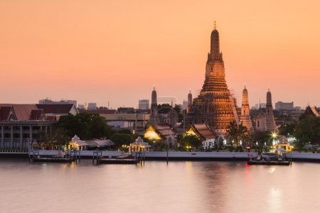 Wat Arun waterfront after sunset