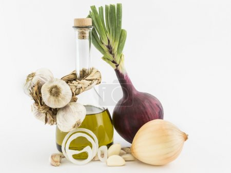 onions, garlic and olive oil