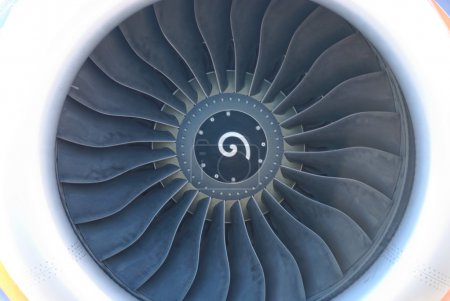 Plane turbojet. Front view. Close up.