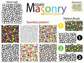 Stone wall Set of seamless patterns and pattern brushes in the form of stone masonry Mosaics and stained glass Windows Plus a set of doodles elements from which it is made