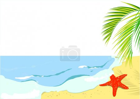 Illustration for Sandy coast and foaming waves with starfishes, stones and palm branches, vector - Royalty Free Image