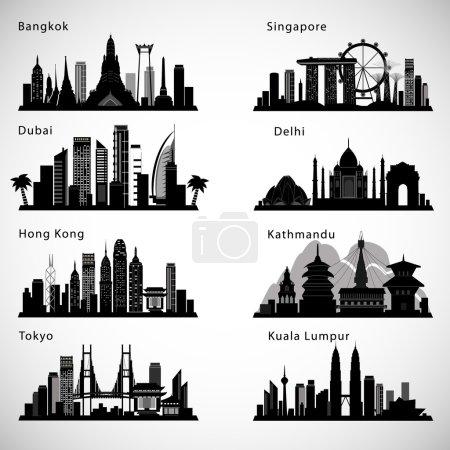 Photo pour Asian Cities skyline set. Silhouettes vectorielles - image libre de droit