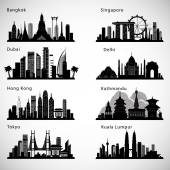 Asian Cities skyline set Vector silhouettes