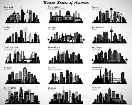 Photo pour États-Unis villes skylines ensemble. Silhouettes vectorielles - image libre de droit