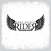 Vintage label with word 'Rider' wings and chain on grunge background for t-shirt print poster emblem Vector illustration