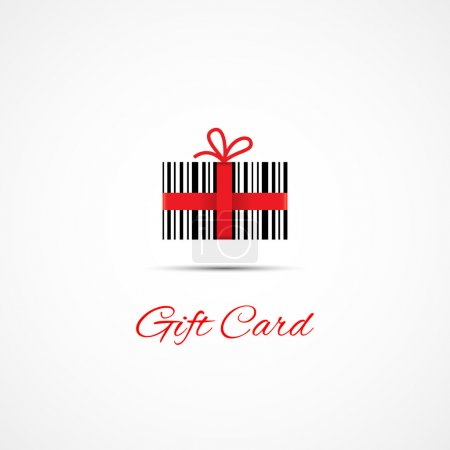 Illustration for Label design template for gift card with barcode and red ribbon. Vector illustration. - Royalty Free Image