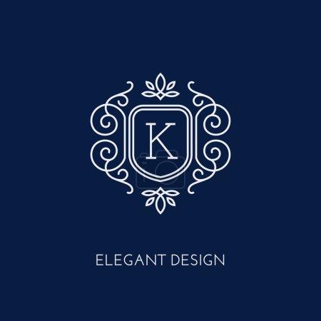 Illustration for Simple and elegant monogram design template with letter K. Vector illustration. - Royalty Free Image