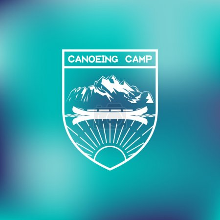 Illustration for Template for logos, labels and emblems with canoe, mountains and sunbeams. Vector illustration. - Royalty Free Image