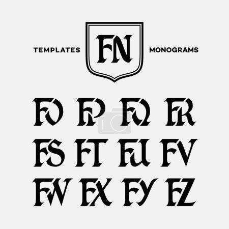 Illustration pour Modèle de conception monogramme avec combinaisons de lettres majuscules FN FO FP FQ FR FS FT FU FV FW FX FY FZ. Illustration vectorielle . - image libre de droit