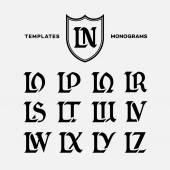 Monogram design template with combinations of capital letters LN LO LP LQ LR LS LT LU LV LW LX LY LZ Vector illustration