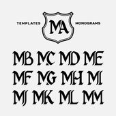 Monogram design template with combinations of capital letters MA MB MC MD ME MF MG MH MI MJ MK ML MM Vector illustration