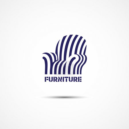 Illustration for Template for logos, labels, emblems with stylized armchair. Vector illustration. - Royalty Free Image