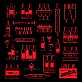 Set of elements and template design logo label emblem icon symbol for menu bar restaurant wine list vineyard and everything related to wine Vector illustration