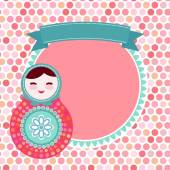 Russian dolls matryoshka on white background pink and blue colors vintage card with pink polka dot backgroun Vector