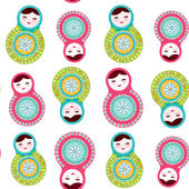 Russian dolls matryoshka on white background seamless pattern pink and blue colors Vector