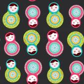 Russian dolls matryoshka on black background seamless pattern pink and blue colors Vector