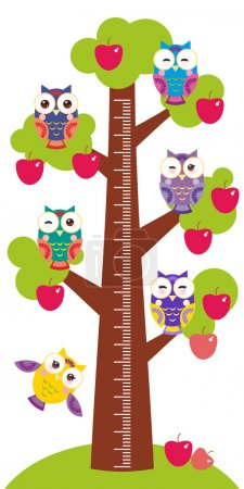 set bright colorful owls Big apple-tree with green leaves and red apples on white background Children height meter wall sticker, kids measure. Vector