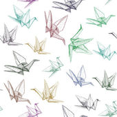 Japanese Origami paper cranes symbol of happiness luck and longevity sketch seamless pattern purple blue brown green line on white background Vector